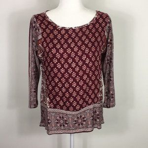 Lucky Brand Maroon Patterned Blouse